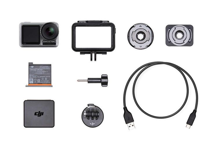 DJI Osmo Action accesorios incluidos en caja